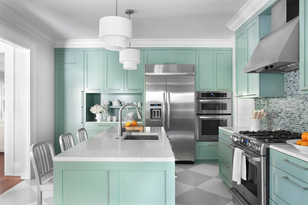 Дизайн в бирюзовом цвете кухни
