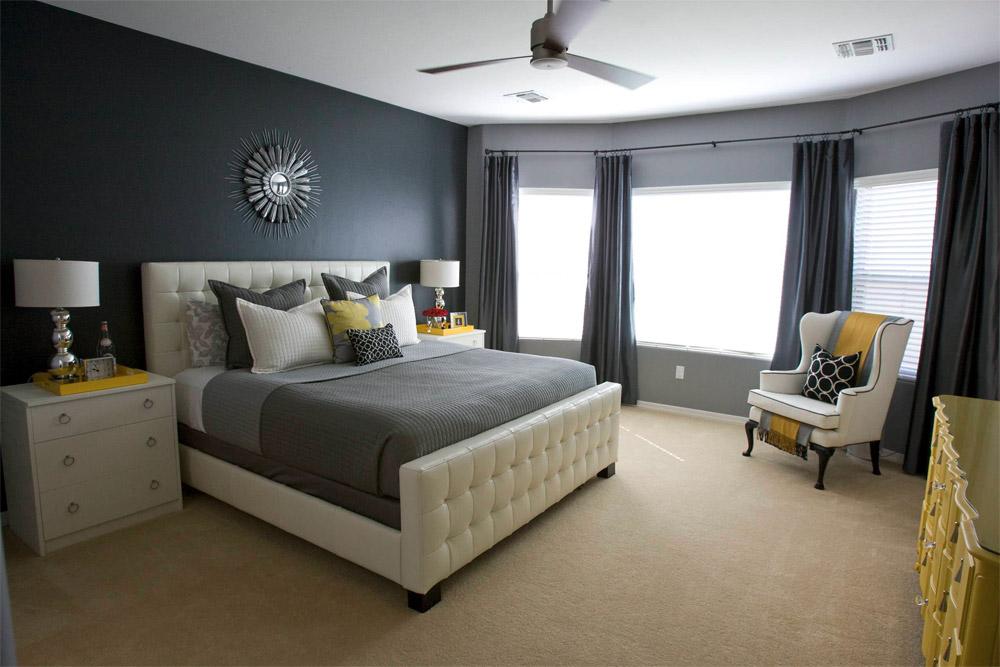 Дизайн спальни с серыми обоями 190