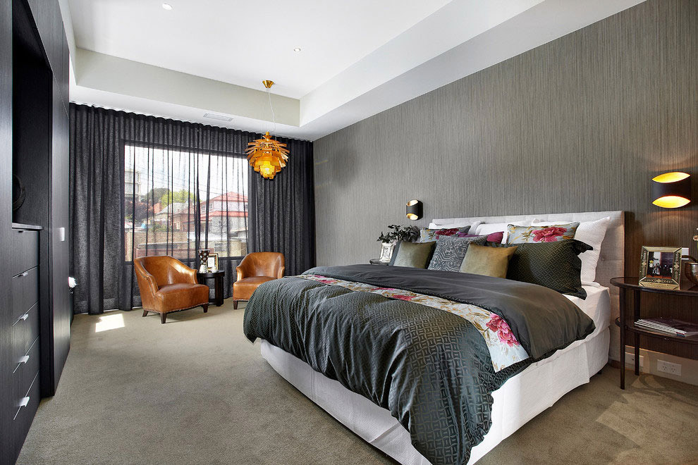 Сочетание серого цветов в интерьере спальни фото