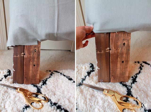 Натягивание ткани вокруг ножек