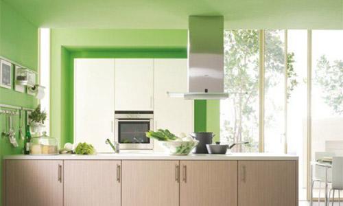Стены кухни в фисташковом цвете
