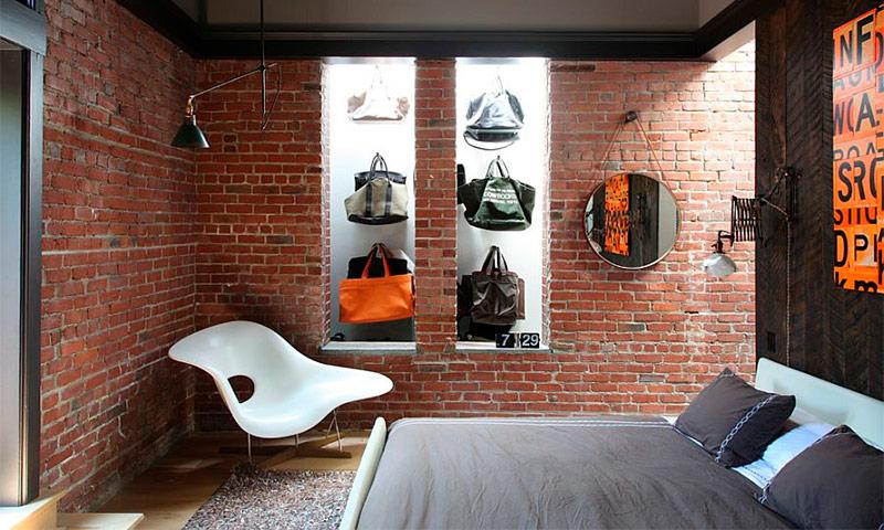Кирпич в интерьере спальни - идеи для вдохновения