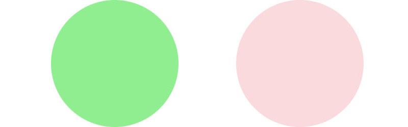 svetlo zelenui i bledno rozovui
