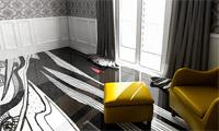 Черно-белый заливной пол в комнате