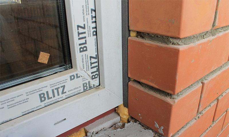 Пример уплотнения примыкания окна при помощи ПСУЛ