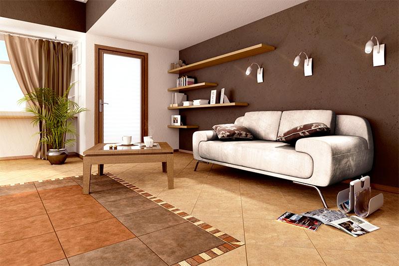 Интерьер комнаты с теплым полом