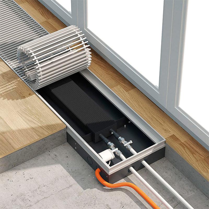 Водяной конвектор встроенный в пол