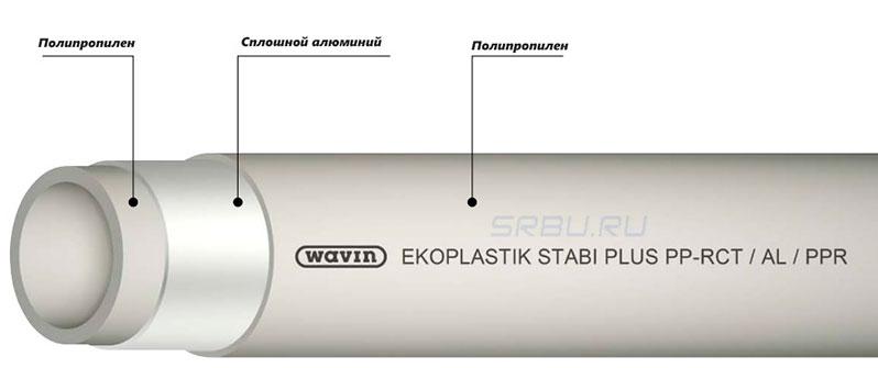 Полипропиленовая труба армированная сплошным алюминием