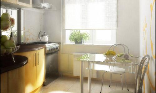 Вариант оформления маленькой кухни